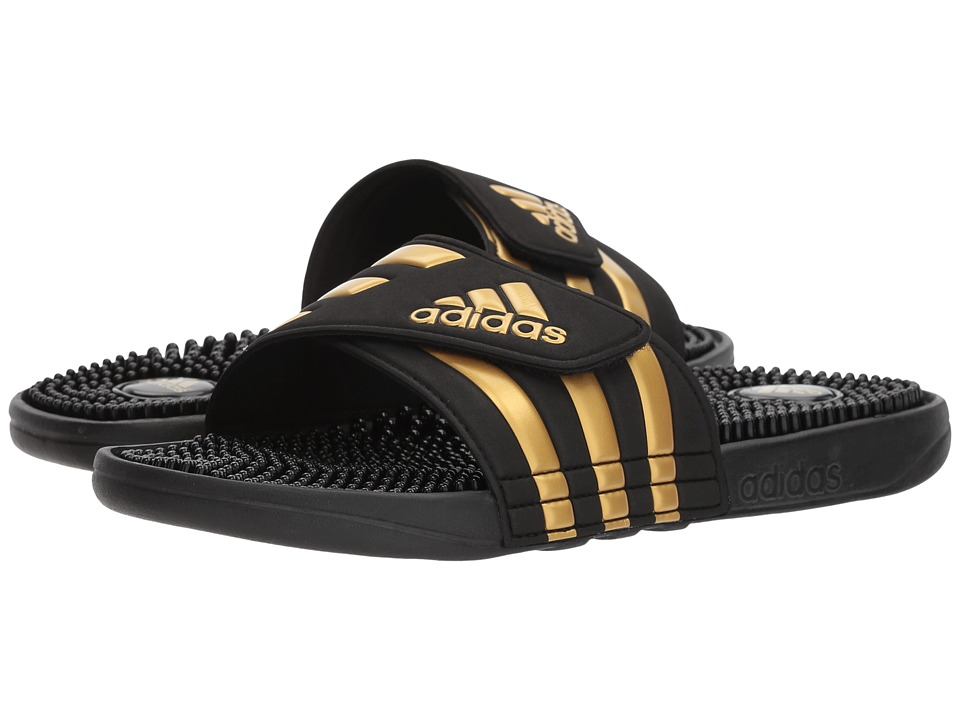 adidas - adissage (Black/Gold/Black) Shoes