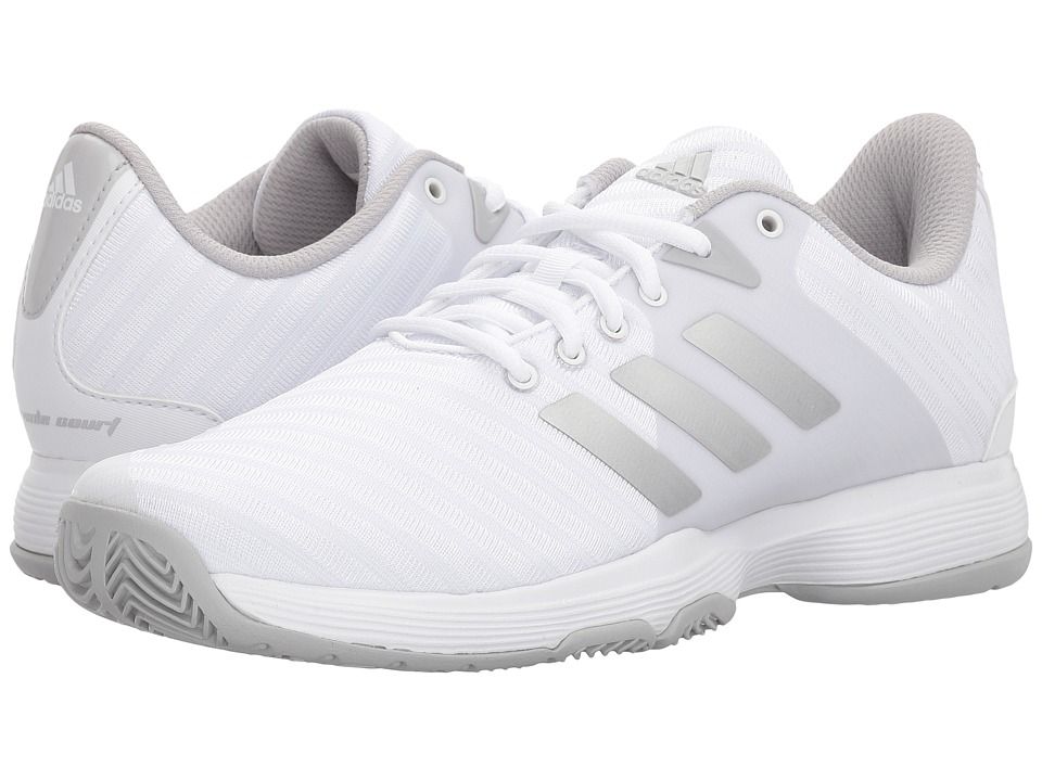 adidas - Barricade Court (White/Silver/Grey Two) Womens Tennis Shoes