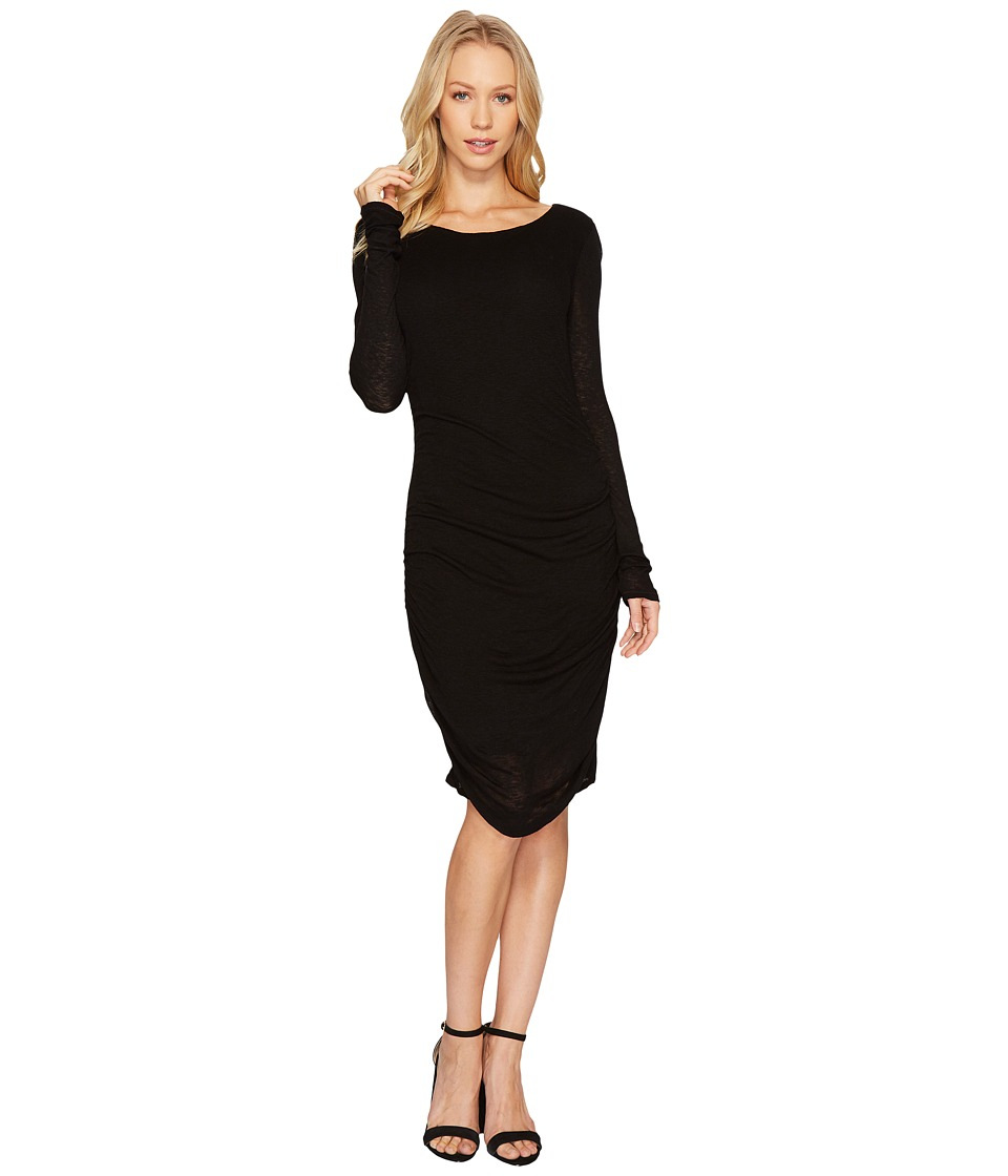 Three Dots Luxe Slub Shirred Dress (Black) Women