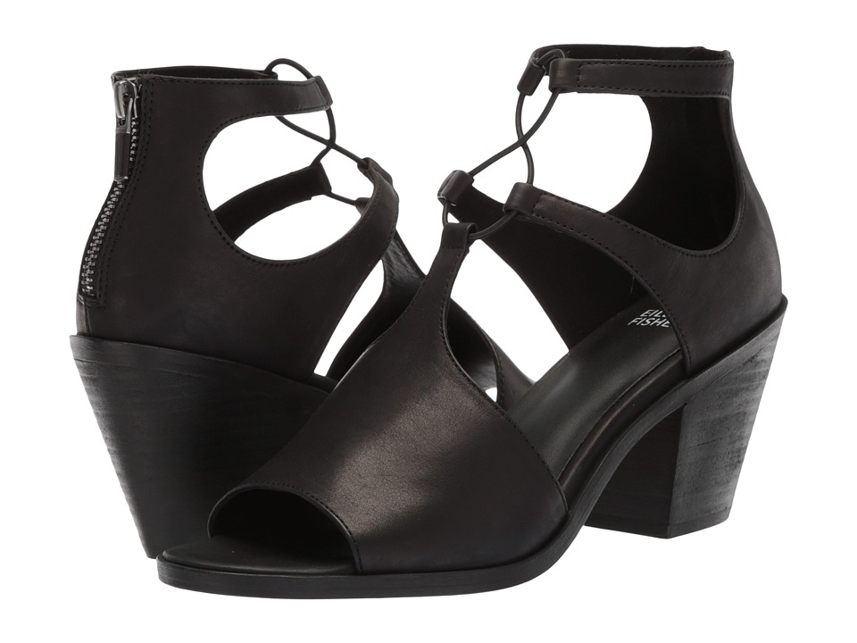 Eileen Fisher - Lou (Black Washed Leather) High Heels