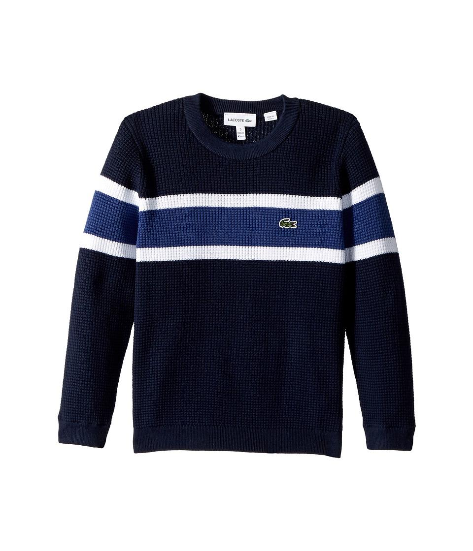 Lacoste Kids Long Sleeve Knit Striped Sweater (Toddler/Little Kids/Big Kids) (Navy Blue/White/Elysee Blue) Boy