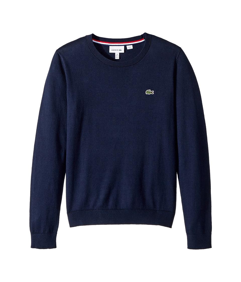 Lacoste Kids Classic Jersey Crew Neck Sweater (Toddler/Little Kids/Big Kids) (Navy Blue) Boy