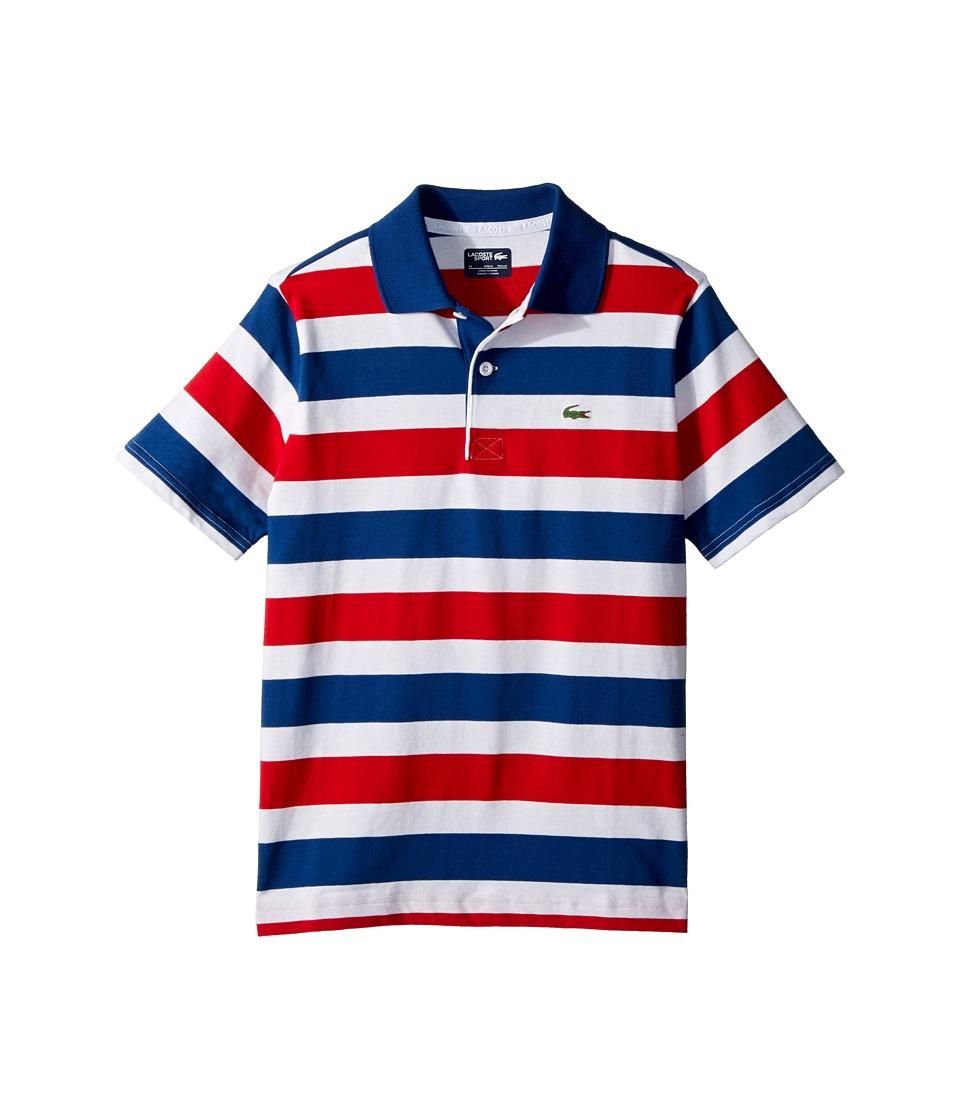 Lacoste Kids - Short Sleeve Striped Jersey Polo (Little Kids/Big Kids) (Marino/White/Red) Boys Clothing