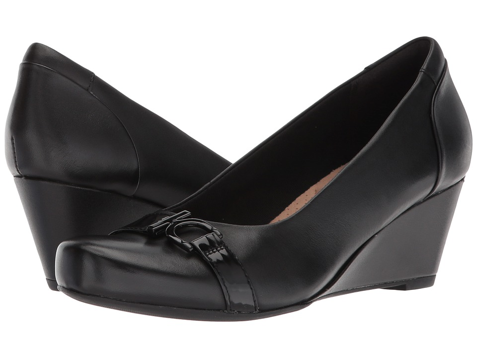 Clarks Flores Poppy (Black Leather) Wedges