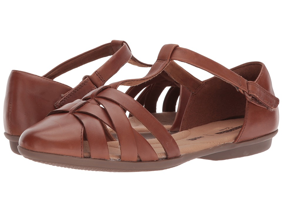 Retro Vintage Flats and Low Heel Shoes Clarks - Gracelin Art Dark Tan Leather Womens Shoes $85.00 AT vintagedancer.com