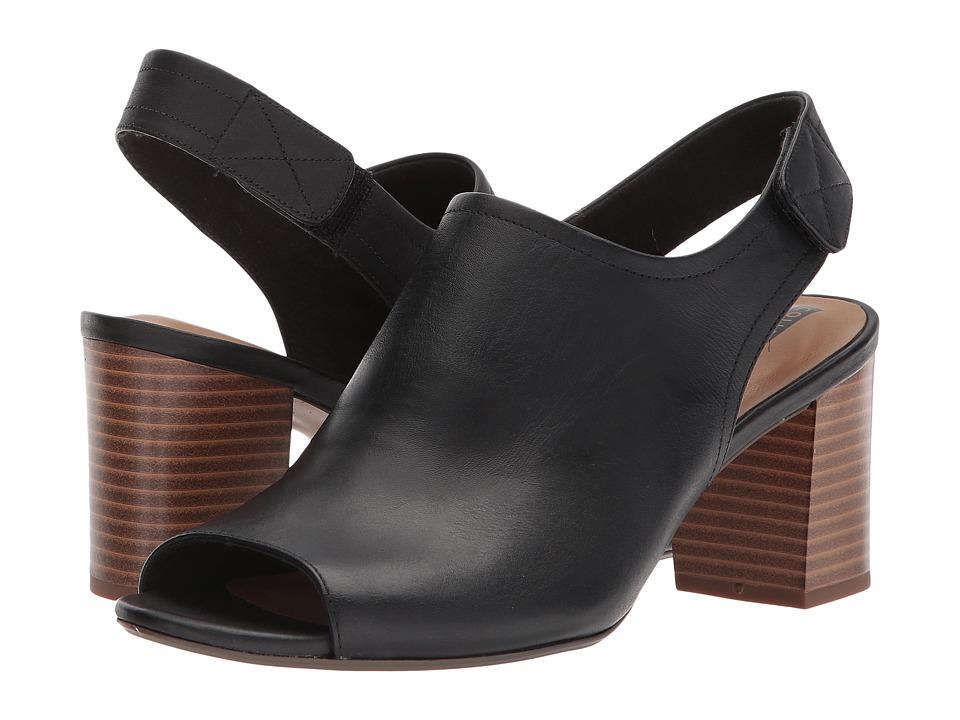 Clarks - Deva Jayleen (Black Leather) Womens Toe Open Shoes