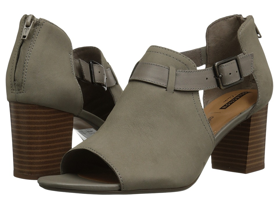 Clarks - Deva Valeria (Sage Nubuck) Womens Toe Open Shoes