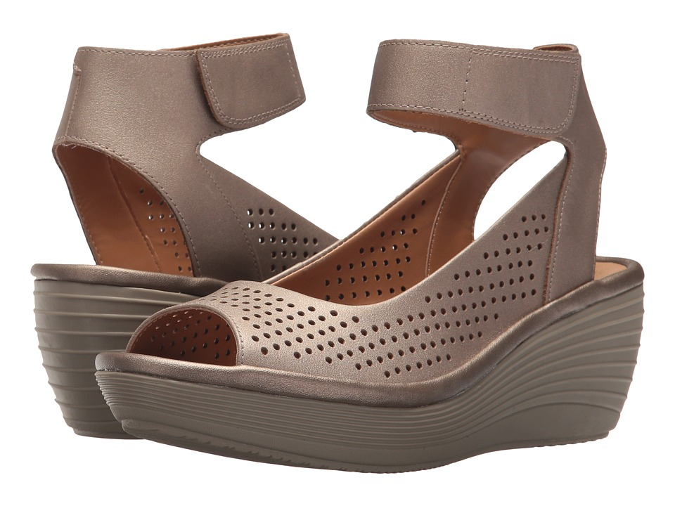 Clarks - Reedly Salene (Pewter Leather) Women's Sandals