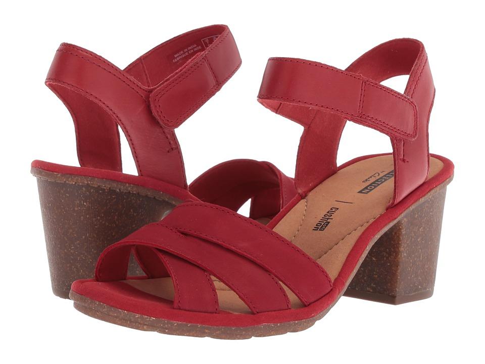 Clarks - Sashlin Jeneva (Red Nubuck) Womens 1-2 inch heel Shoes