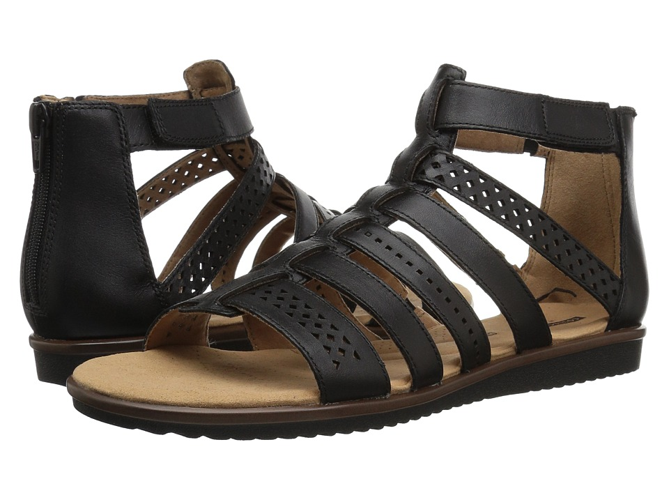 Clarks - Kele Lotus (Black Leather) Women's Sandals
