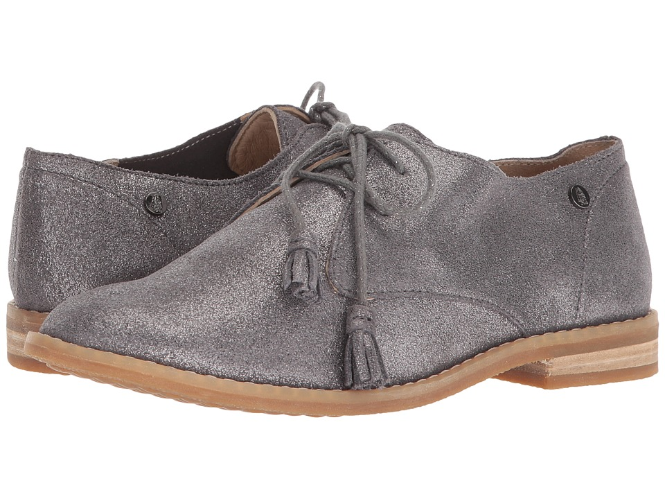 Hush Puppies Chardon Oxford (Dark Grey Metallic Suede) Women's Lace Up Cap Toe Shoes