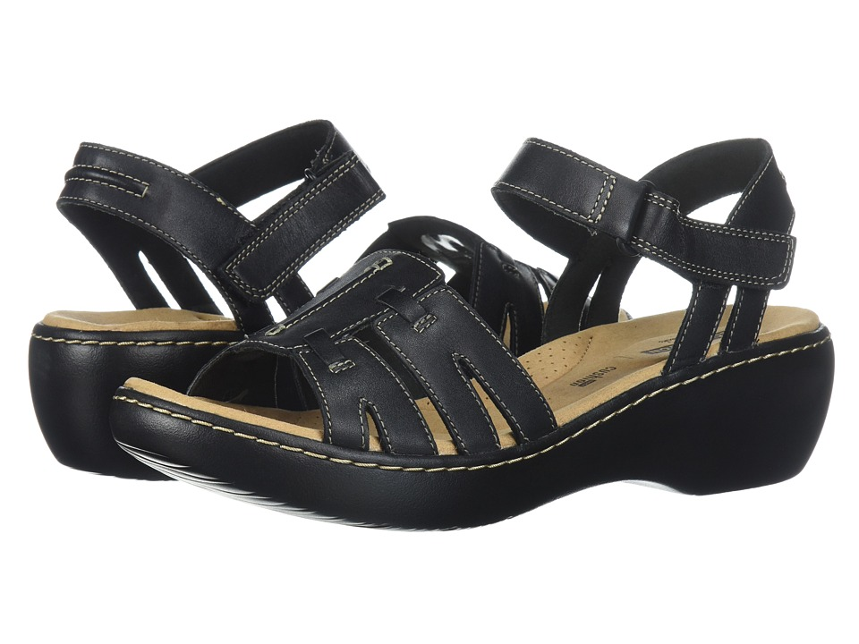 Clarks Delana Nila (Black Leather) Sandals