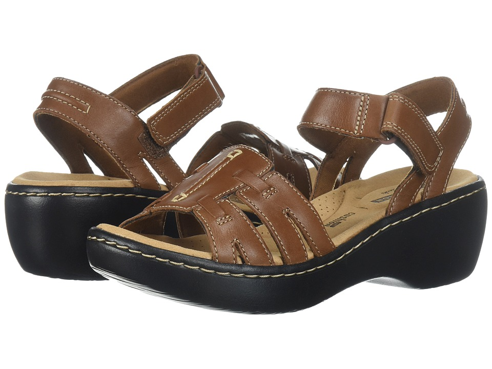 Clarks Delana Nila (Dark Tan Leather) Sandals