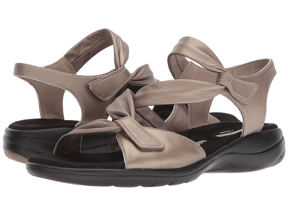 Clarks - Saylie Moon (Pewter Metallic Leather) Women's Sandals