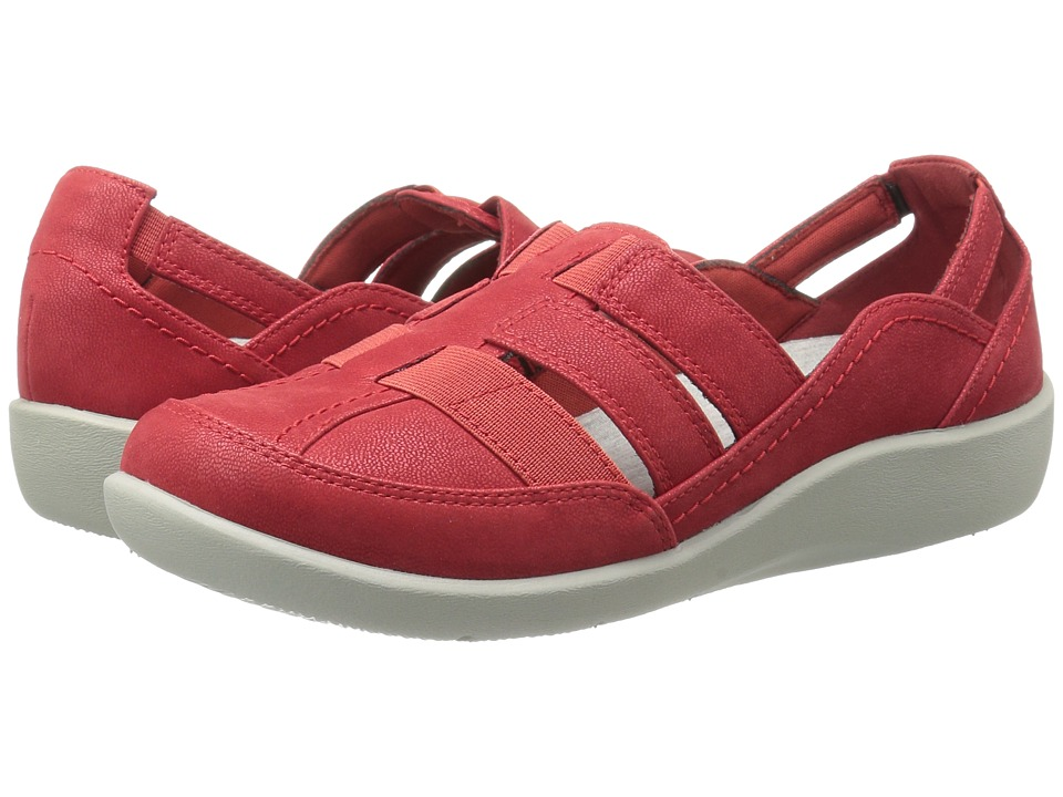Clarks - Sillian Stork (Red Synthetic Nubuck) Women's Sandals