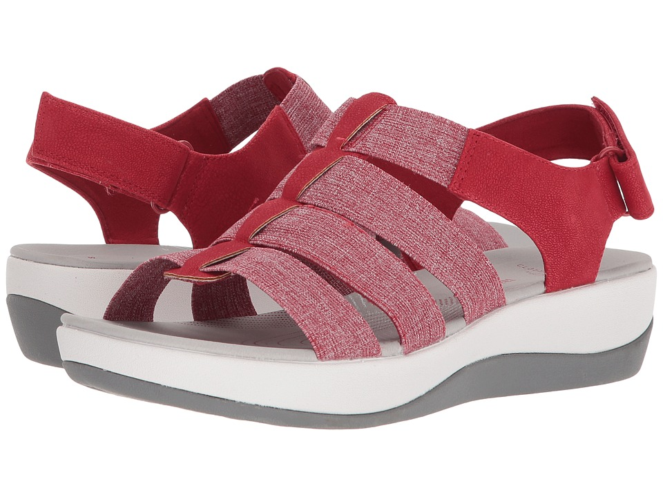 Clarks - Arla Shaylie (Red/White Heathered Elastic) Women's Sandals