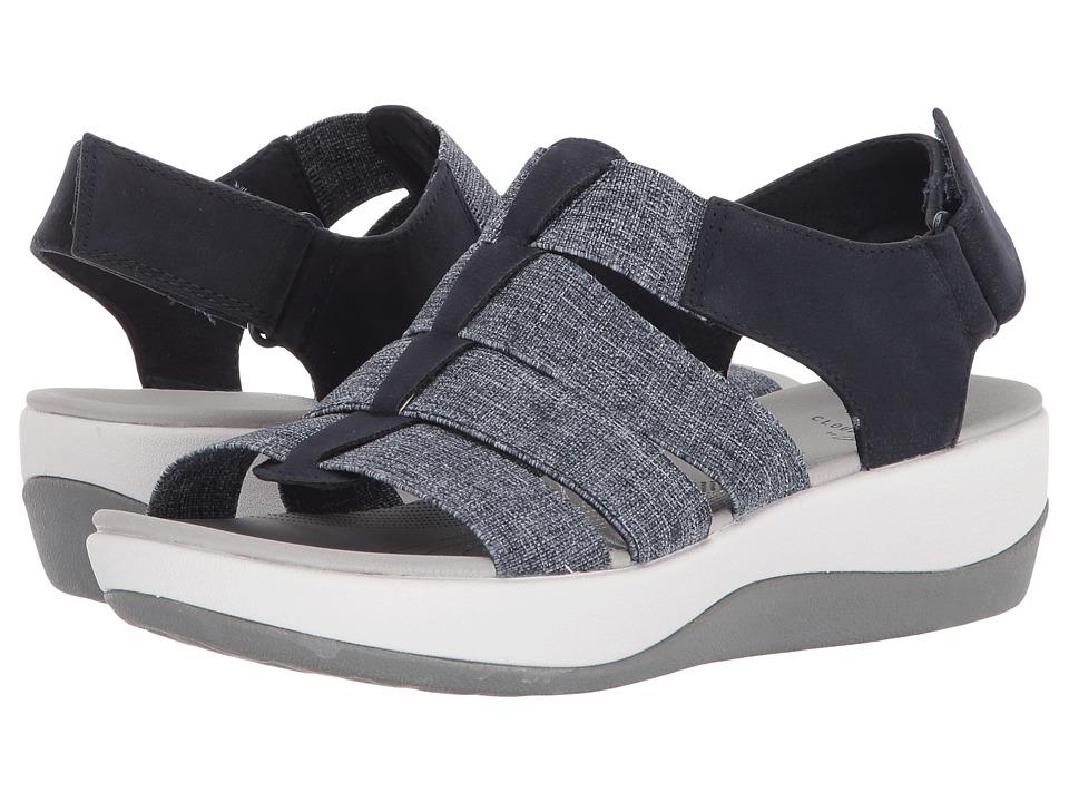 Clarks Arla Shaylie (Navy/White Heathered Elastic) Sandals
