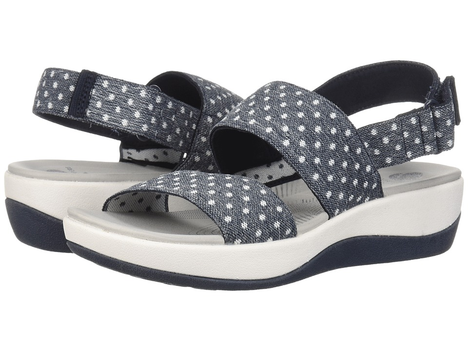Clarks - Arla Jacory (Navy/White Polka Dot Elastic) Womens Sandals