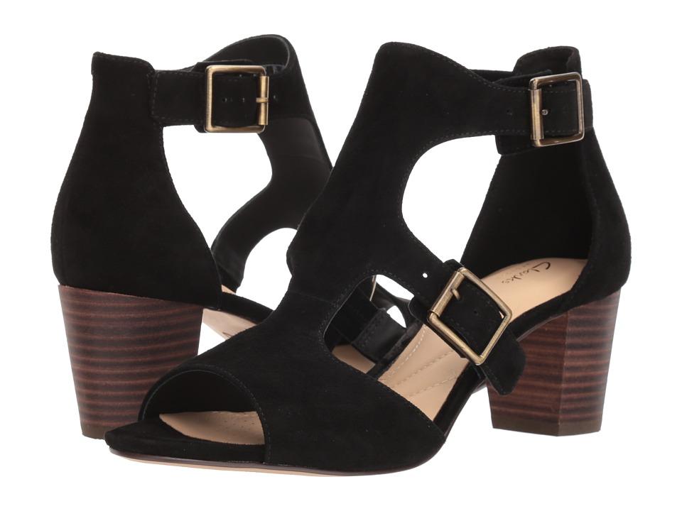 Clarks Deloria Kay (Black Suede) 1-2 inch heel Shoes