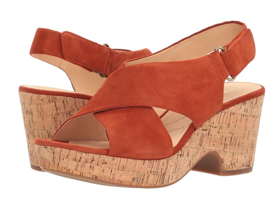 Vintage Sandals | Wedges, Espadrilles – 30s, 40s, 50s, 60s, 70s Clarks - Maritsa Lara Rust SuedeCork Womens Wedge Shoes $130.00 AT vintagedancer.com