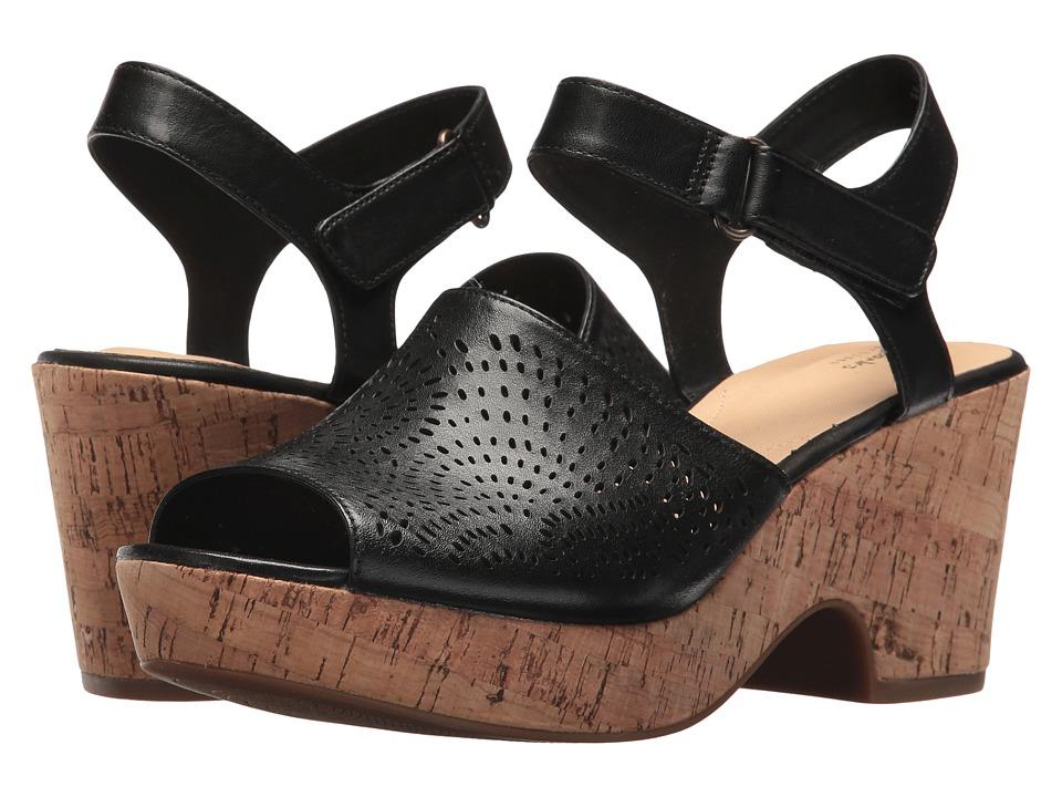Clarks - Maritsa Nila (Black Leather) Womens Wedge Shoes