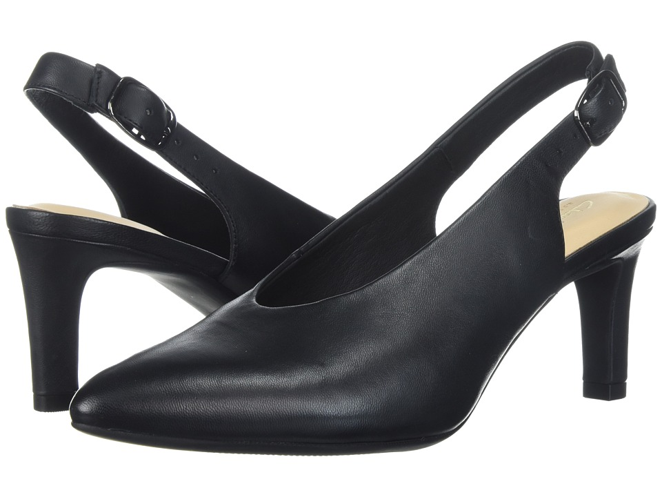 Clarks Calla Violet (Black Leather) Women's 1-2 inch heel...