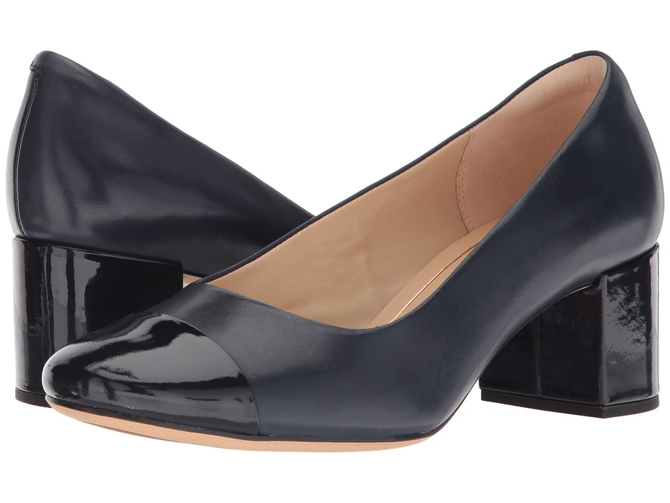 Clarks - Orabella Mia (Navy Combination Leather) Womens 1-2 inch heel Shoes