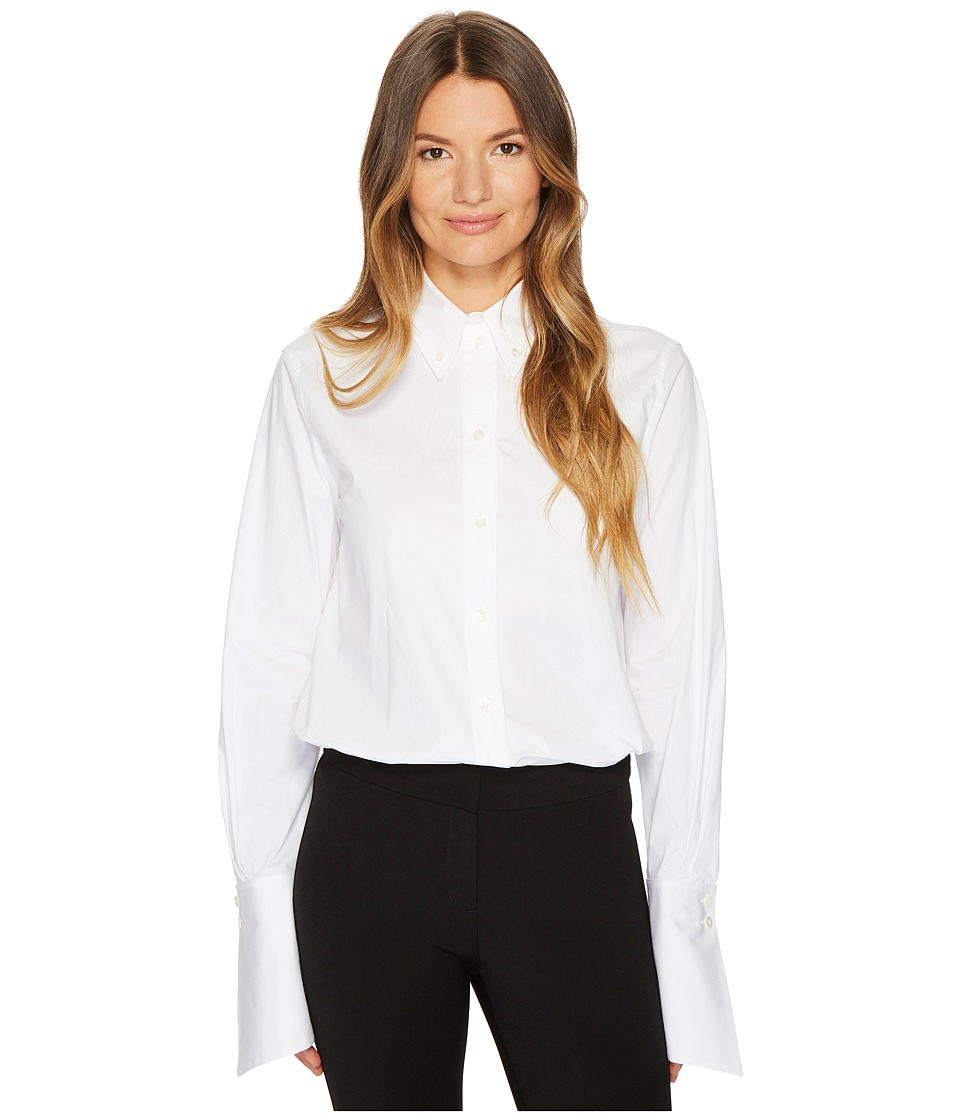 Jil Sander Navy - Cotton Poplin Long Sleeve Collared Shirt (White) Womens Long Sleeve Pullover