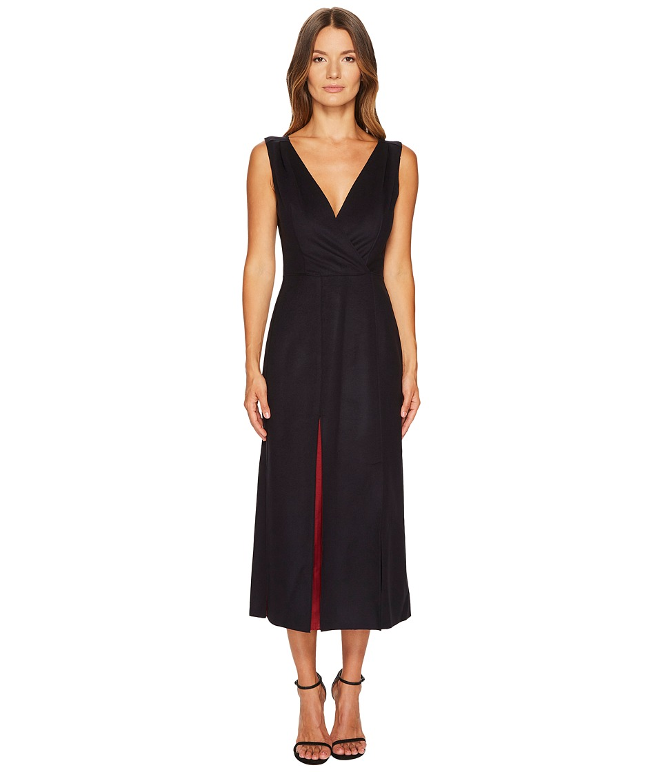 Jil Sander Navy - Wool Sleeveless V-Neck Dress (Navy) Womens Dress