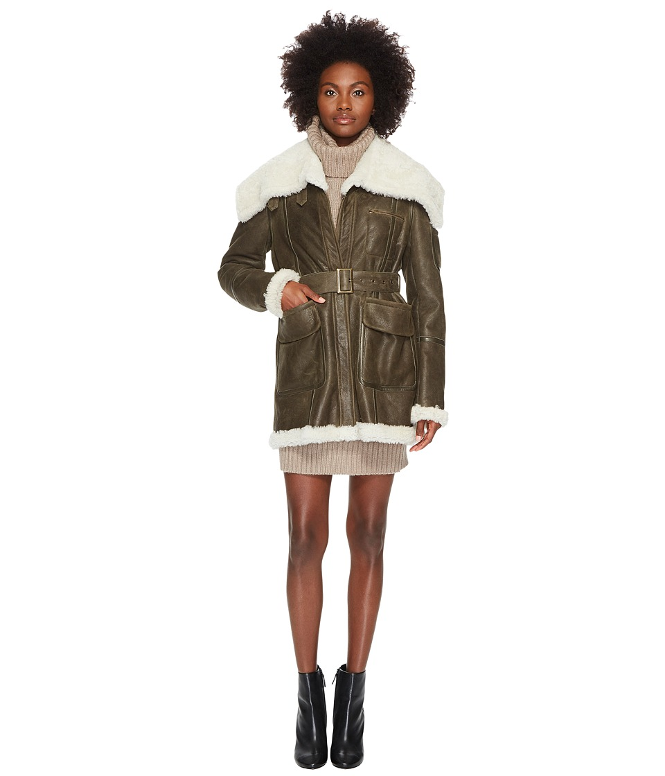 Jil Sander Navy - Lambskin Leather Coat (Bronze Green) Womens Coat