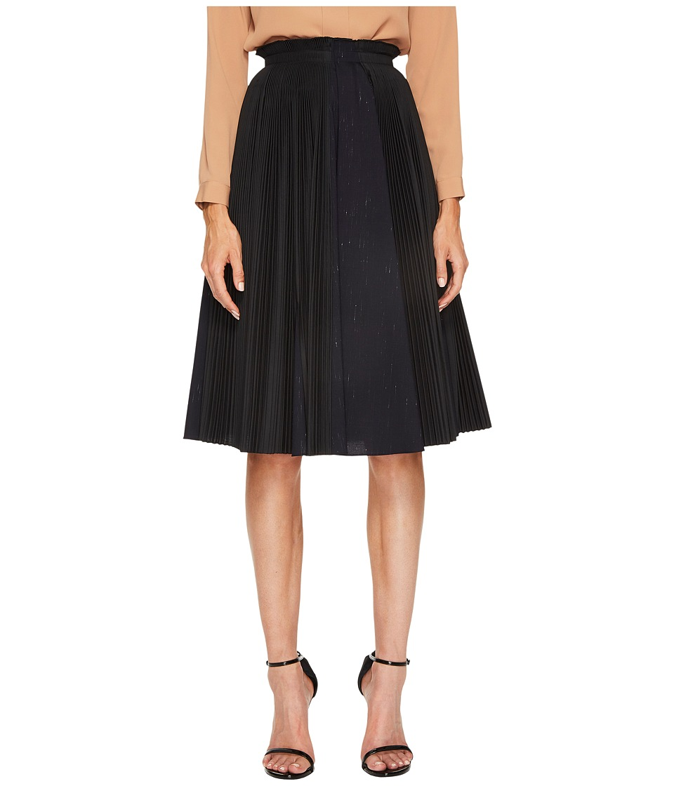 Jil Sander Navy - Plisse Poplin Pleated Skirt (Black) Womens Skirt