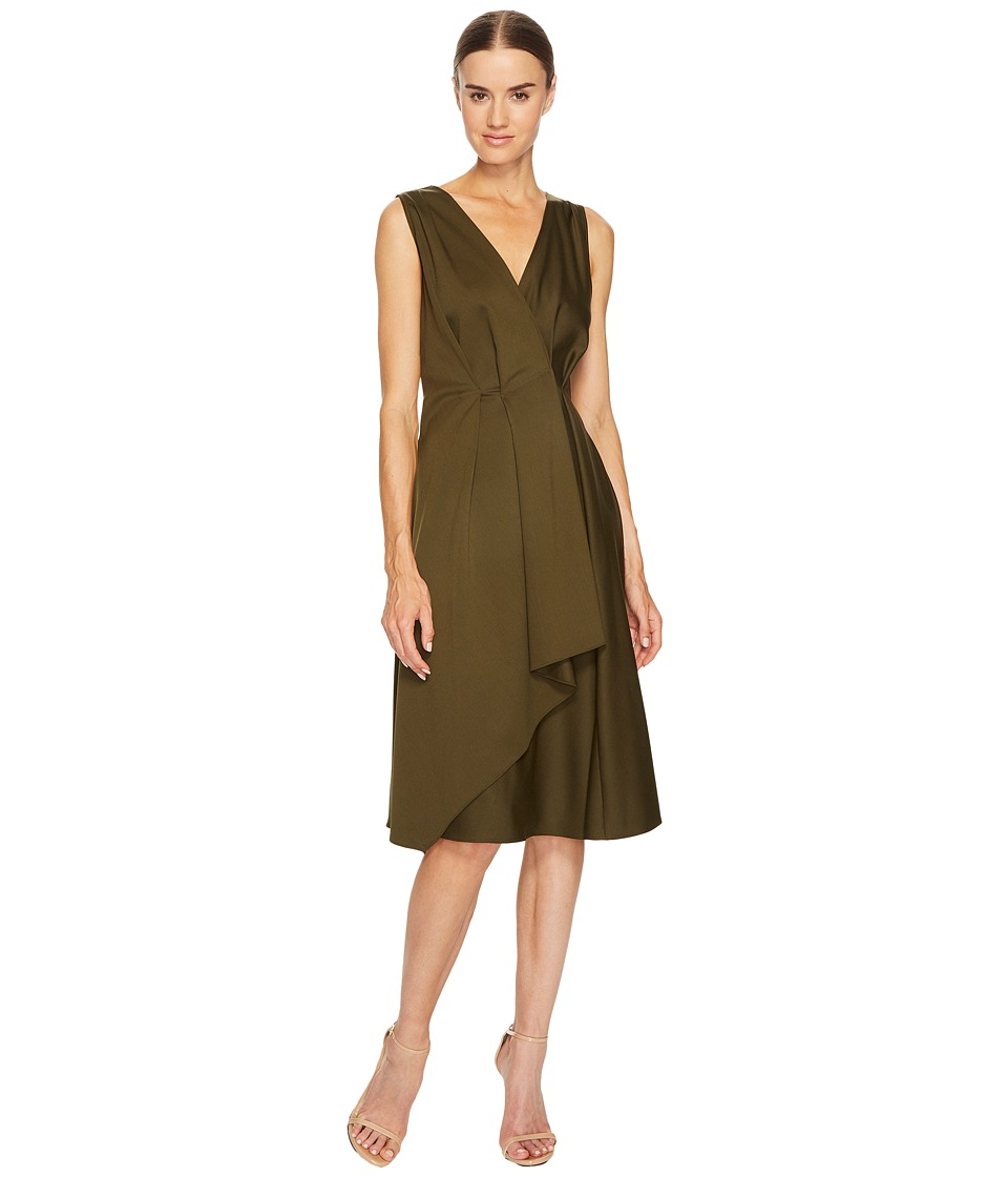 Jil Sander Navy - V-Neck Sleeveless Dress with Ruffle Detail (Bronze Green) Womens Dress
