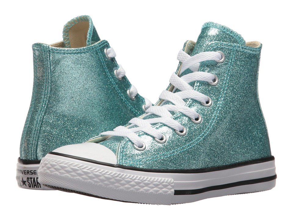 Converse Kids Chuck Taylor All Star Hi (Little Kid/Big Kid) (Bleached Aqua/Natural/White) Girl's Shoes