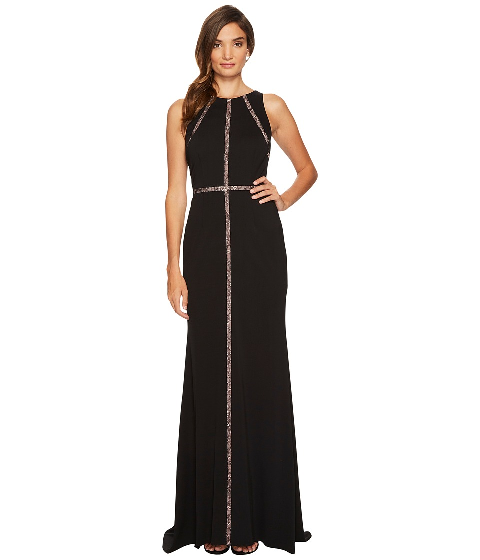 Adrianna Papell - Sleeveless Jersey Halter Gown with Nude Lace Illusion Detail