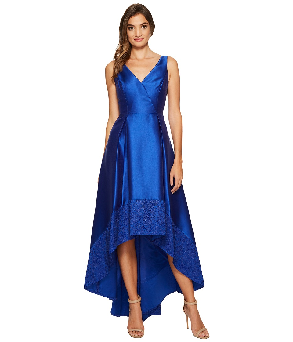 Adrianna Papell - Sleeveless Mikado High-Low Gown with Lace Border Hem