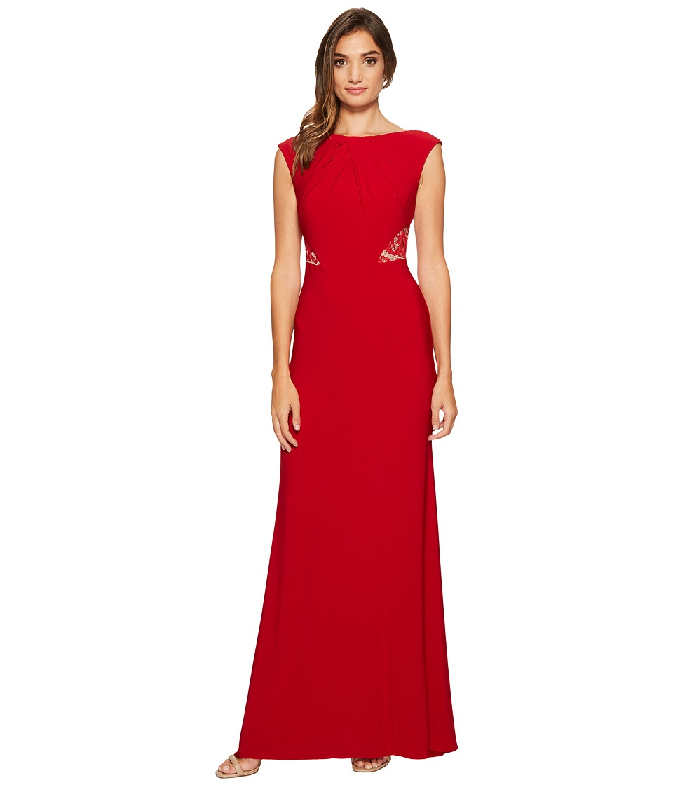Adrianna Papell Cap Sleeve Long Gown with Lace Illusion Waist Detail (Cardinal) Women