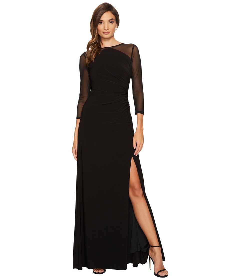 Adrianna Papell - Side Draped Long Gown with Illusion Long Sleeves