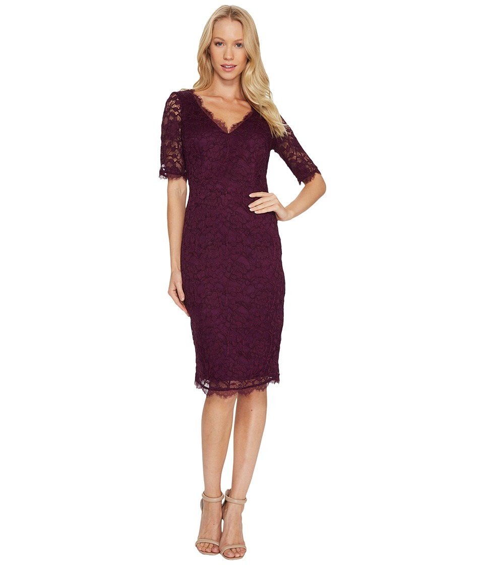 Adrianna Papell - 3/4 Sleeve Lace Cocktail Dress with Scalloped V