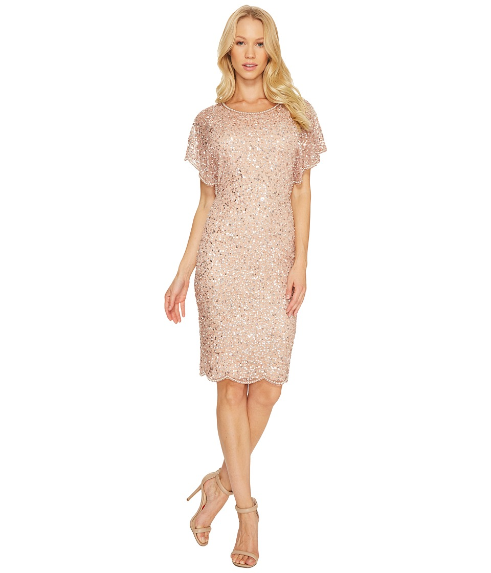 Adrianna Papell - Flutter Sleeve Beaded Cocktail Dress with Pearl Edge Detail