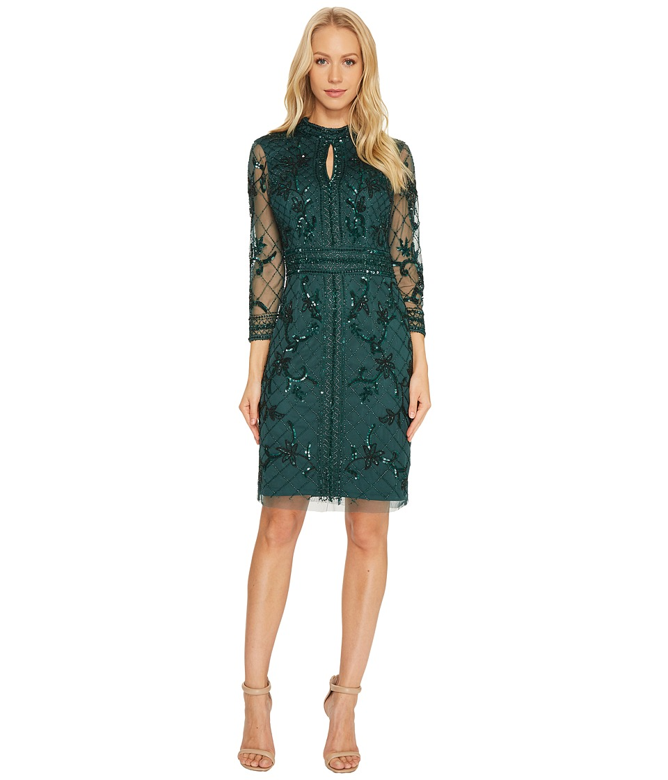 Adrianna Papell - Long Sleeve Mock Neck Beaded Cocktail Dress