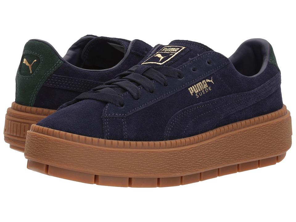 PUMA - Suede Platform Trace Bold (Evening Blue/Scarab) Womens Shoes