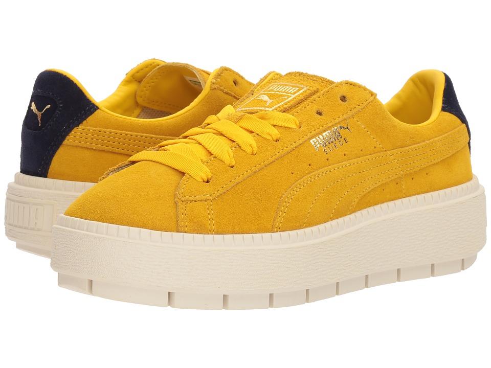 Mens Vintage Style Shoes| Retro Classic Shoes PUMA - Suede Platform Trace Bold LemonEvening Blue Womens Shoes $110.00 AT vintagedancer.com