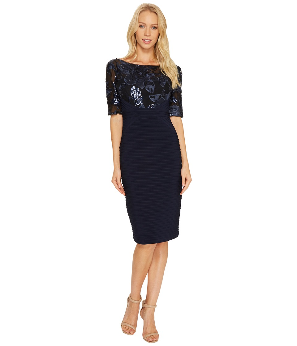 Adrianna Papell Cocktail Dress with Floral Sequin Bodice with Pin Tuck Jersey Skirt (Navy) Women
