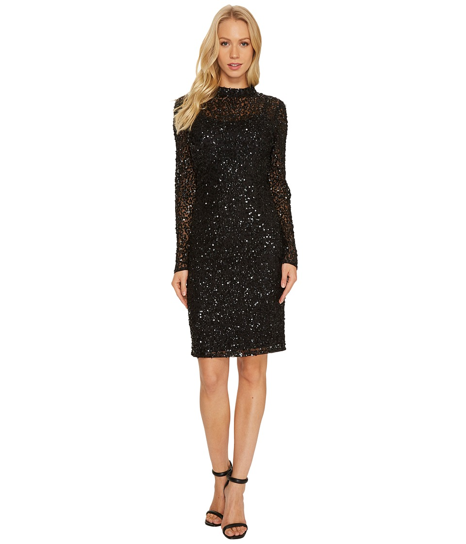 Adrianna Papell - Long Sleeve All Over Sequin Cocktail Dress with Mock Neck