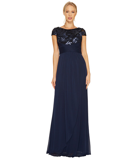 Adrianna Papell Short Sleeve Gown with Shirred Bodice and Floral Bead Motif