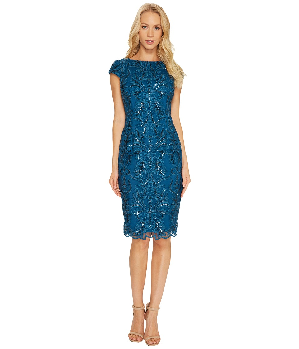 Adrianna Papell - Off the Shoulder Sequin Scroll Cocktail Dress