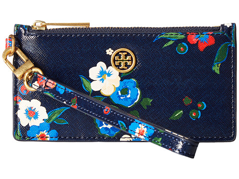 Tory Burch Parker Printed Zip Card Case - Pansy Bouquet Floral