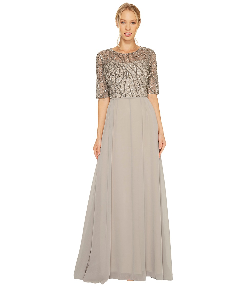 Adrianna Papell - Short Sleeve Beaded Bodice Gown