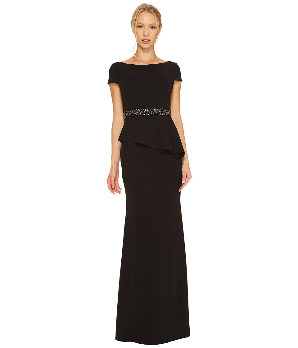 Adrianna Papell - Short Sleeve Crepe Peplum Gown