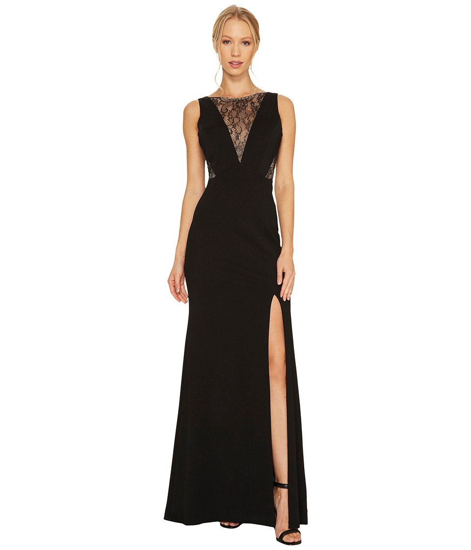Adrianna Papell - Jersey Mermaid Gown with Lace Insets